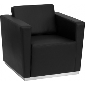 Wholesale HERCULES Trinity Series Contemporary Black Leather Chair with Stainless Steel Base