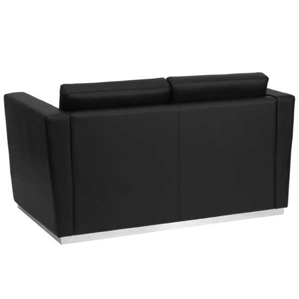 Lowest Price HERCULES Trinity Series Contemporary Black Leather Loveseat with Stainless Steel Base
