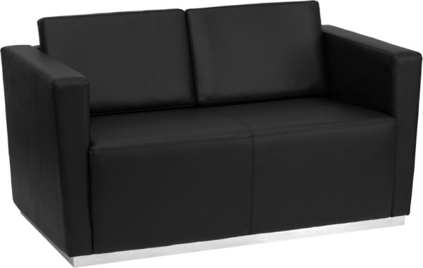 Wholesale HERCULES Trinity Series Contemporary Black Leather Loveseat with Stainless Steel Base