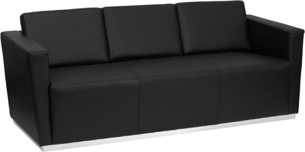 Wholesale HERCULES Trinity Series Contemporary Black Leather Sofa with Stainless Steel Base