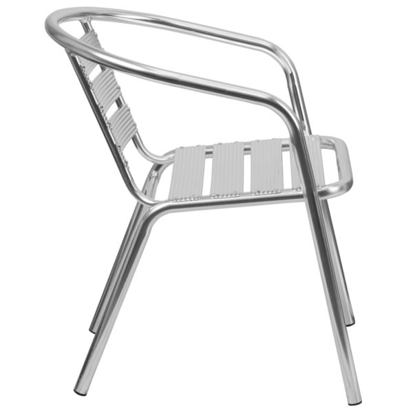 Lowest Price Heavy Duty Commercial Aluminum Indoor-Outdoor Restaurant Stack Chair with Triple Slat Back