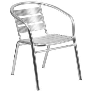 Wholesale Heavy Duty Commercial Aluminum Indoor-Outdoor Restaurant Stack Chair with Triple Slat Back