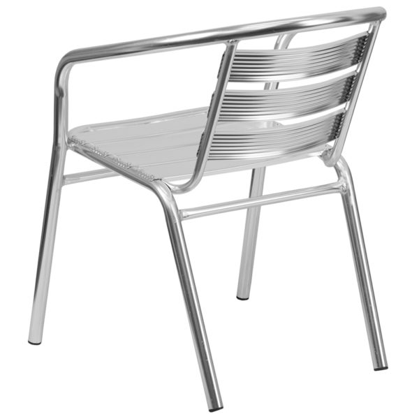 Stackable Cafe Chair Aluminum Slat Back Chair