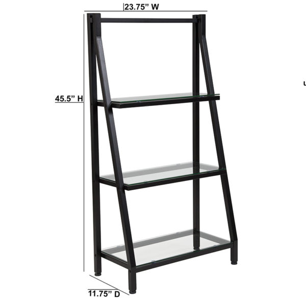 """Lowest Price Highland Collection 3 Shelf 45.5""""H Glass Bookcase with Black Metal Frame"""