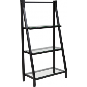 "Wholesale Highland Collection 3 Shelf 45.5""H Glass Bookcase with Black Metal Frame"