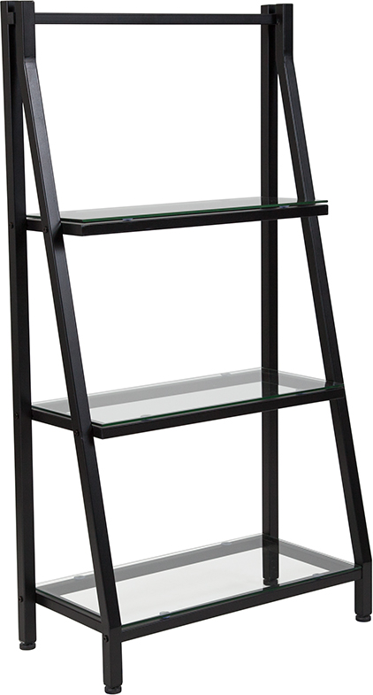 """Wholesale Highland Collection 3 Shelf 45.5""""H Glass Bookcase with Black Metal Frame"""