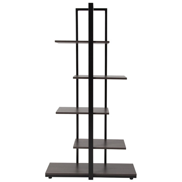 Lowest Price Homewood Collection 5 Tier Decorative Etagere Storage Display Unit Bookcase with Black Metal Frame in Driftwood Finish