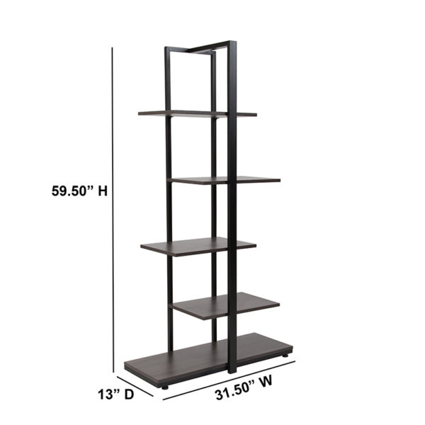Contemporary Style Driftwood 5-Tier Shelf