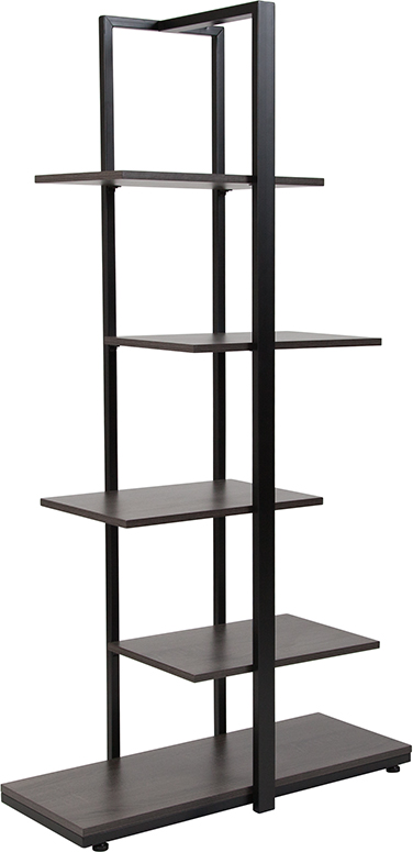 Wholesale Homewood Collection 5 Tier Decorative Etagere Storage Display Unit Bookcase with Black Metal Frame in Driftwood Finish