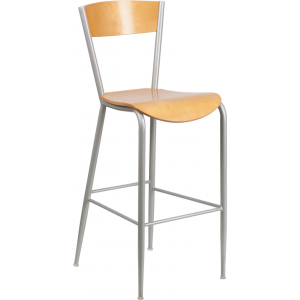 Wholesale Invincible Series Silver Metal Restaurant Barstool - Natural Wood Back & Seat