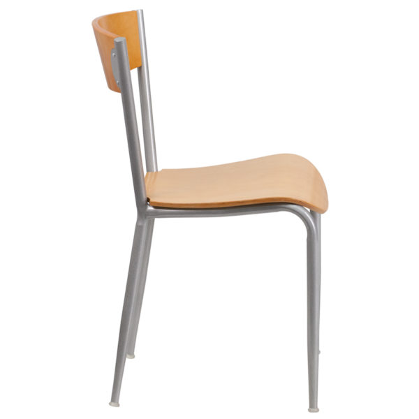 Lowest Price Invincible Series Silver Metal Restaurant Chair - Natural Wood Back & Seat