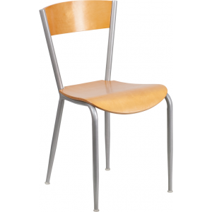 Wholesale Invincible Series Silver Metal Restaurant Chair - Natural Wood Back & Seat