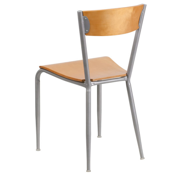 Metal Dining Chair Silver Open Chair-Nat Seat