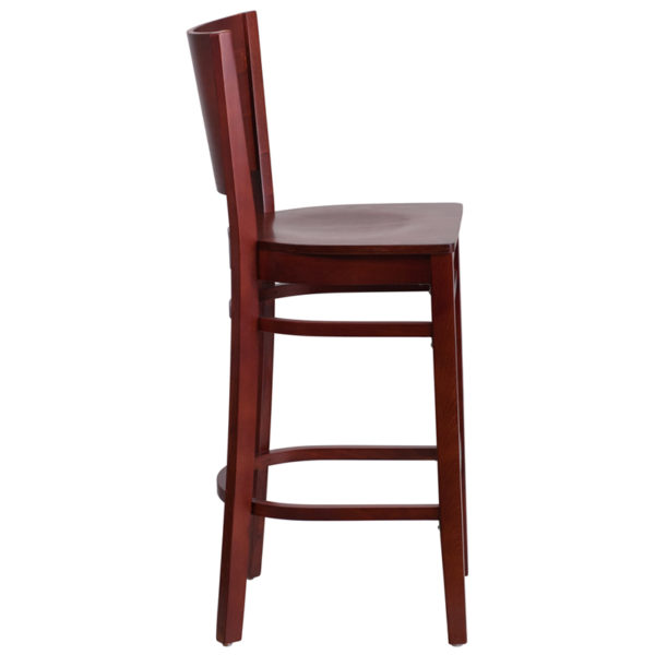 Lowest Price Lacey Series Solid Back Mahogany Wood Restaurant Barstool