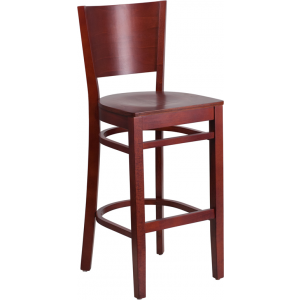 Wholesale Lacey Series Solid Back Mahogany Wood Restaurant Barstool