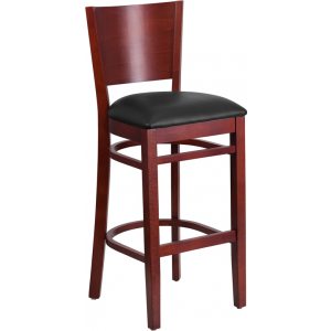 Wholesale Lacey Series Solid Back Mahogany Wood Restaurant Barstool - Black Vinyl Seat