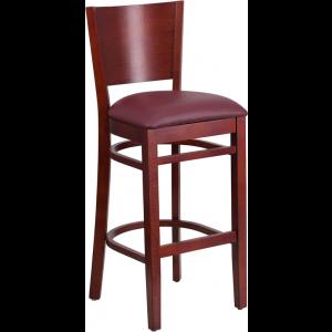 Wholesale Lacey Series Solid Back Mahogany Wood Restaurant Barstool - Burgundy Vinyl Seat