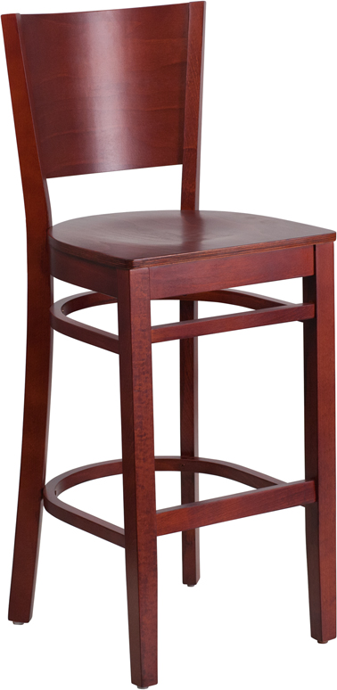 Wholesale Lacey Series Solid Back Mahogany Wood Restaurant Barstool