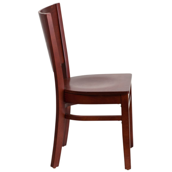 Lowest Price Lacey Series Solid Back Mahogany Wood Restaurant Chair
