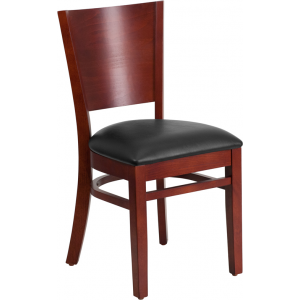 Wholesale Lacey Series Solid Back Mahogany Wood Restaurant Chair - Black Vinyl Seat
