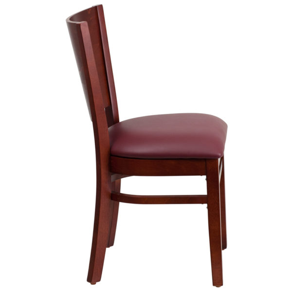 Lowest Price Lacey Series Solid Back Mahogany Wood Restaurant Chair - Burgundy Vinyl Seat