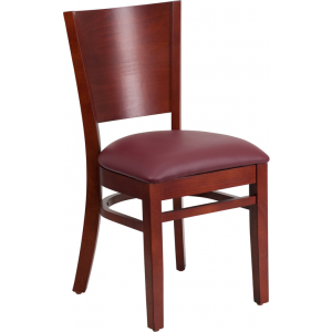 Wholesale Lacey Series Solid Back Mahogany Wood Restaurant Chair - Burgundy Vinyl Seat