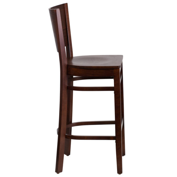 Lowest Price Lacey Series Solid Back Walnut Wood Restaurant Barstool