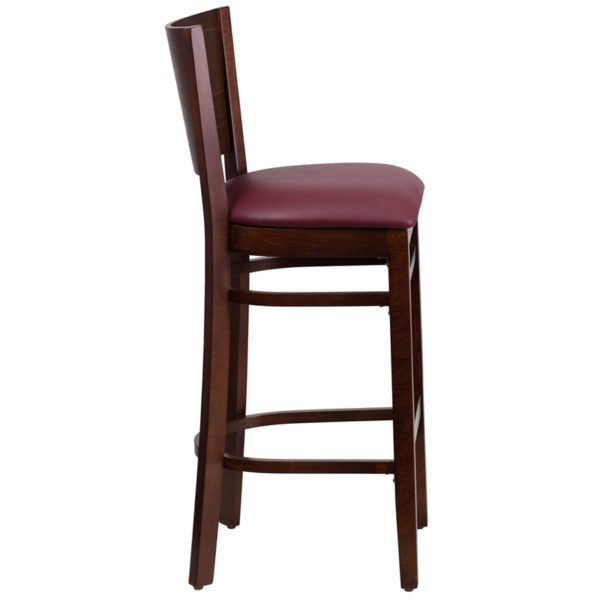 Lowest Price Lacey Series Solid Back Walnut Wood Restaurant Barstool - Burgundy Vinyl Seat