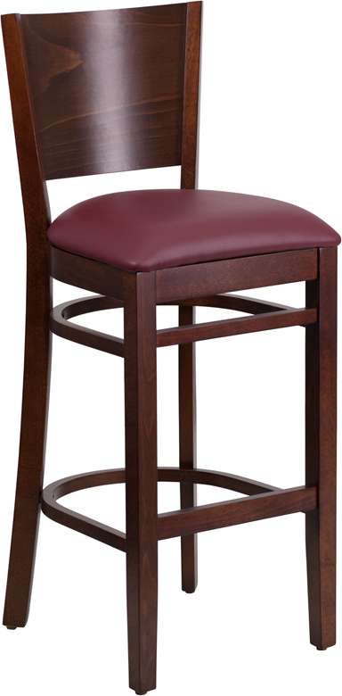 Wholesale Lacey Series Solid Back Walnut Wood Restaurant Barstool - Burgundy Vinyl Seat
