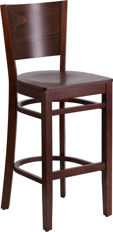 Wholesale Lacey Series Solid Back Walnut Wood Restaurant Barstool