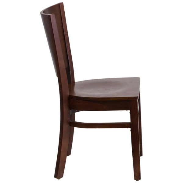 Lowest Price Lacey Series Solid Back Walnut Wood Restaurant Chair