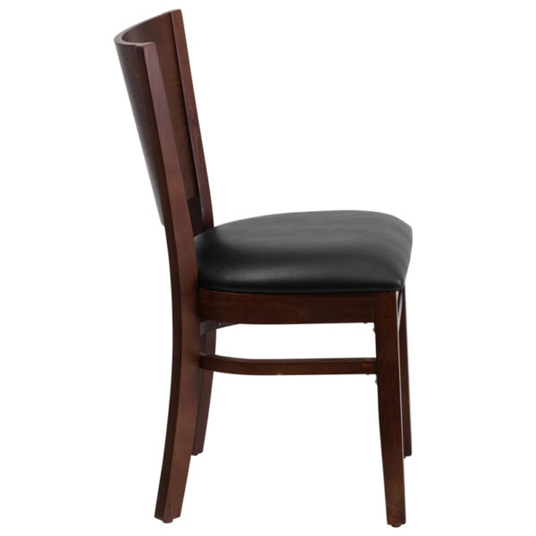 Lowest Price Lacey Series Solid Back Walnut Wood Restaurant Chair - Black Vinyl Seat