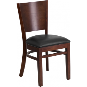 Wholesale Lacey Series Solid Back Walnut Wood Restaurant Chair - Black Vinyl Seat