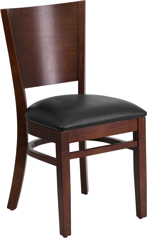 Wholesale Lacey Series Solid Back Walnut Wood Restaurant Chair - Black Vinyl Seat