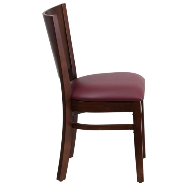Lowest Price Lacey Series Solid Back Walnut Wood Restaurant Chair - Burgundy Vinyl Seat