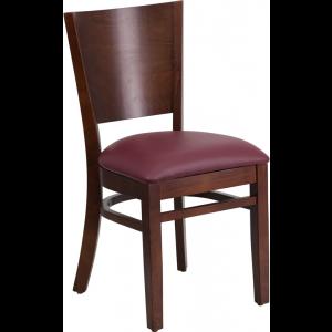 Wholesale Lacey Series Solid Back Walnut Wood Restaurant Chair - Burgundy Vinyl Seat