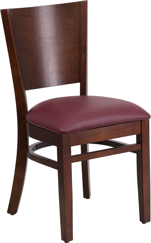 Wholesale Lacey Series Solid Back Walnut Wood Restaurant Chair - Burgundy Vinyl Seat