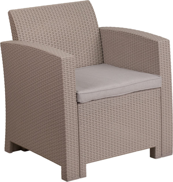 Lowest Price Light Gray Faux Rattan Chair with All-Weather Light Gray Cushion