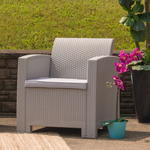 Wholesale Light Gray Faux Rattan Chair with All-Weather Light Gray Cushion