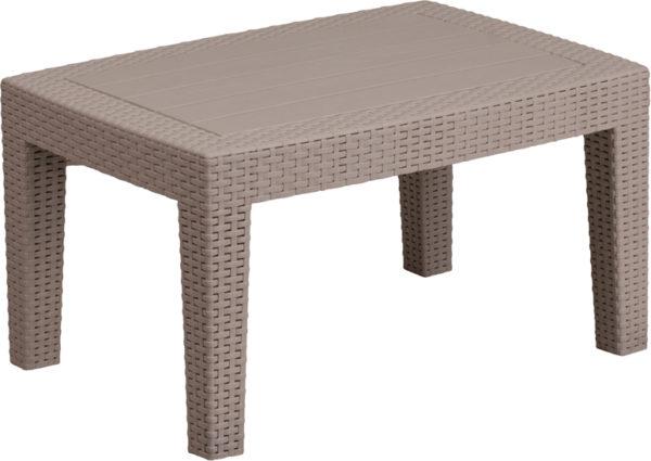 Lowest Price Light Gray Faux Rattan Coffee Table