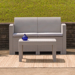 Wholesale Light Gray Faux Rattan Loveseat with All-Weather Light Gray Cushions