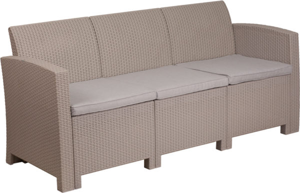 Lowest Price Light Gray Faux Rattan Sofa with All-Weather Light Gray Cushions