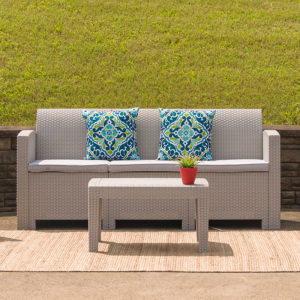 Wholesale Light Gray Faux Rattan Sofa with All-Weather Light Gray Cushions