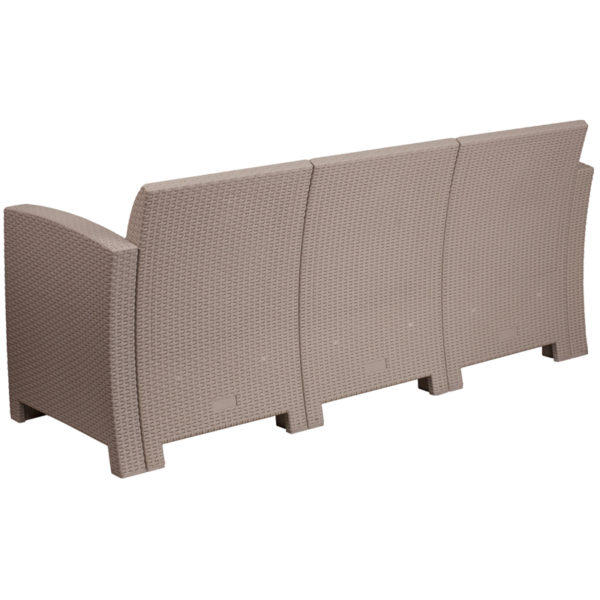 Contemporary Outdoor Sofa Light Gray Rattan Outdoor Sofa