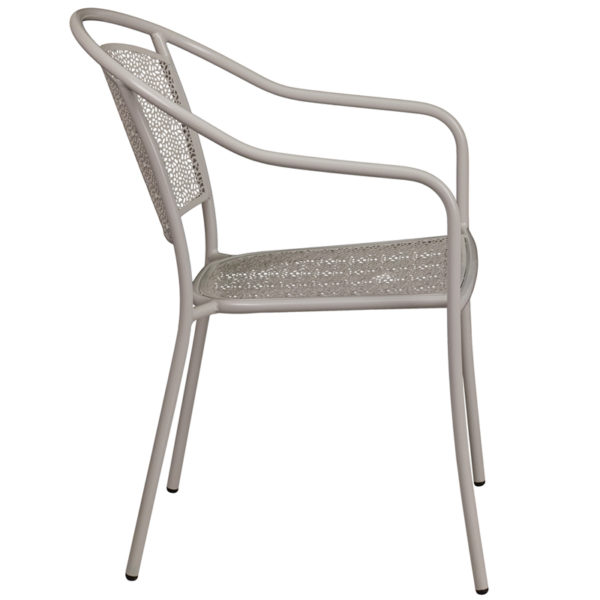 Lowest Price Light Gray Indoor-Outdoor Steel Patio Arm Chair with Round Back