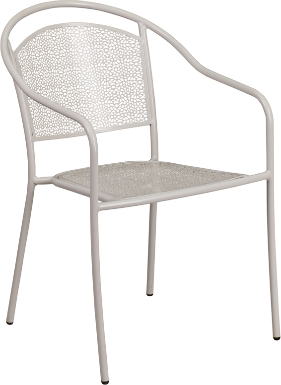 Wholesale Light Gray Indoor-Outdoor Steel Patio Arm Chair with Round Back