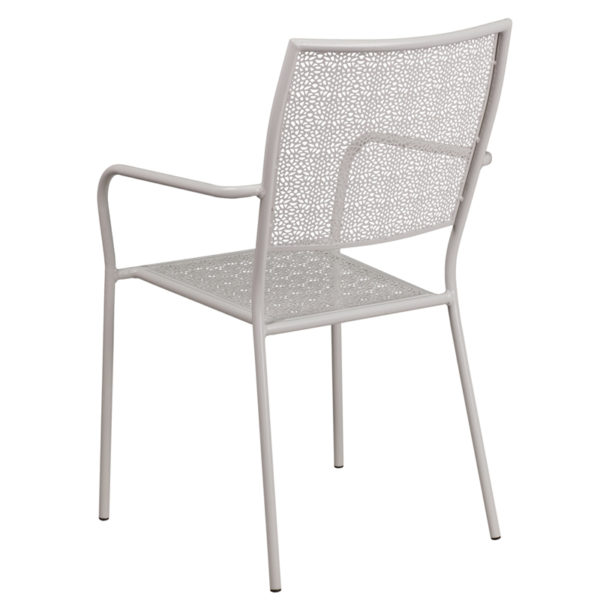 Outdoor Patio Chair Gray Square Back Patio Chair