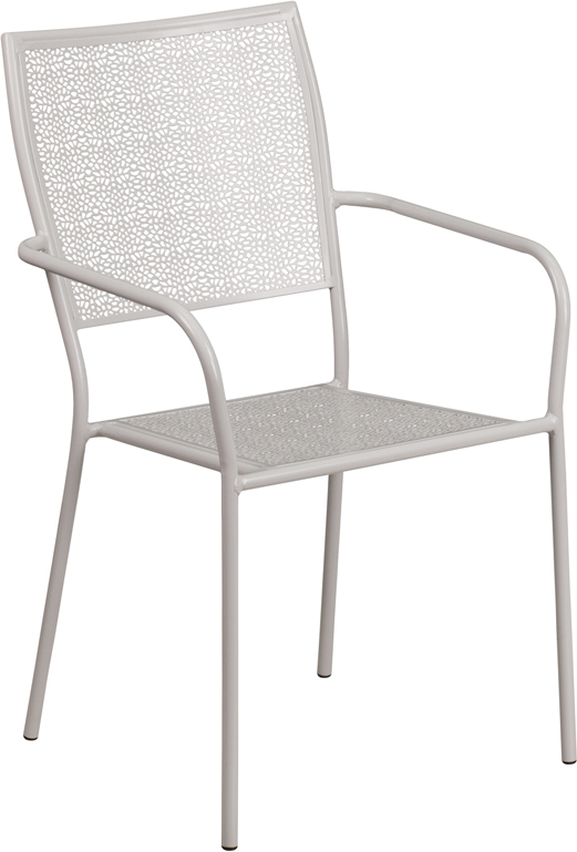 Wholesale Light Gray Indoor-Outdoor Steel Patio Arm Chair with Square Back