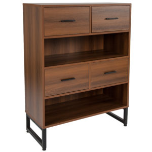 "Wholesale Lincoln Collection 2 Shelf 41.25""H Display Bookcase with Four Drawers in Rustic Wood Grain Finish"