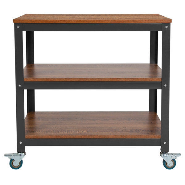 """Lowest Price Livingston Collection 30""""W Rolling Storage Cart with Metal Wheels in Brown Oak Wood Grain Finish"""